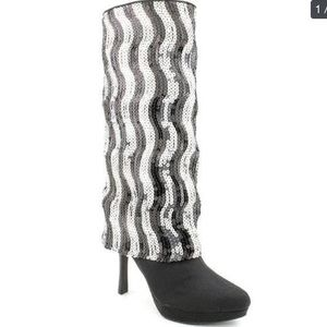 Nina Black Satin with Sequins Boots